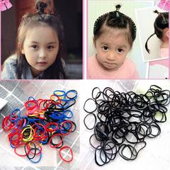 公主儿童盘发用多色小皮筋加厚型强拉不断黑色发圈发绳橡胶圈皮套