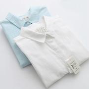 春秋薄款文艺清新纯色竹节棉麻长袖衬衫女学生白衬衣百搭