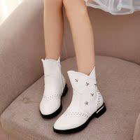 女童真皮短靴棉靴童靴儿童冬靴马丁靴女大中童保暖靴子皮靴公主靴