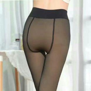 踩脚一体裤加绒加厚无缝超逼真单层假透肉打底裤女防勾丝连袜外穿