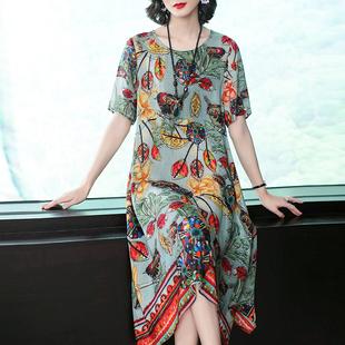唯品会特卖2018夏季女装复古印花真丝连衣裙宽松大码桑蚕丝裙