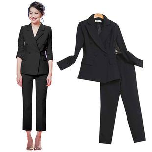 纯黑白色时尚职业套装女裤两件套韩国显瘦双排扣小西装外套潮