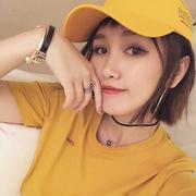 宁小雪宽松女款短袖上衣女2018春夏季纯色姜黄色t恤学生