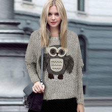 2016 Fashion fresh lovely Owl Stereoscopic O-Neck Pullovers