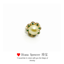 Diana Spencer 珍宝18k金锆石+沙佛莱 南洋珍珠戒指 包邮