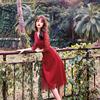 魅影仙女蕾丝连衣裙回门服新娘订婚敬酒红色礼服v领海边度假裙夏