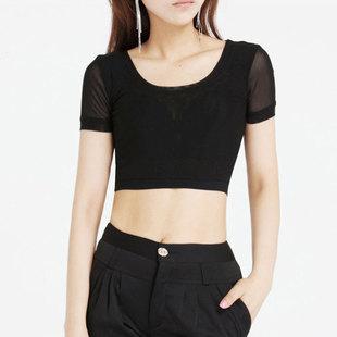 夏季蕾丝低圆领短袖性感纯色透视百搭半截网纱T恤打底衫