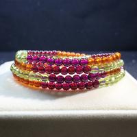 天然彩虹手链,橙石榴+紫牙乌+红石榴+橄榄石4MM四圈手链