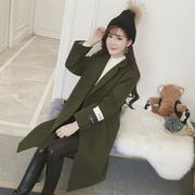 韩国2017冬季学生百搭加厚原宿毛呢外套女中长款呢子大衣