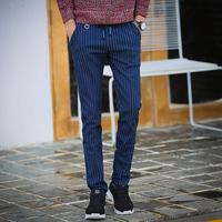 秋冬款条纹牛仔裤男士青年修身型弹力小脚裤松紧抽绳休闲长裤子潮