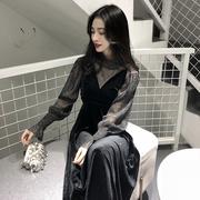 复古温柔风吊带ins超火裙子春装2018女chic两件套连衣裙