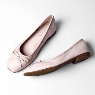 返朴超软牛皮芭蕾舞单鞋 手工方头蝴蝶结平底鞋真皮浅口女鞋春夏