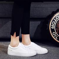 明星同款小白鞋平底女单鞋韩版休闲鞋白色运动鞋系带厚底女板鞋