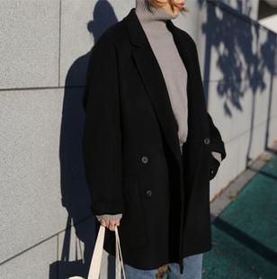 2018冬小个子双面羊绒大衣女短款羊毛外套茧型西装领宽松黑色