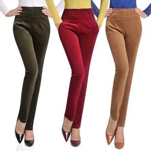 松紧腰高腰灯芯绒条绒小脚裤显瘦铅笔裤加绒加厚中年妈妈女裤