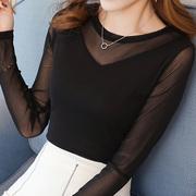 圆领蕾丝打底衫女2018秋装韩范上衣纯色大码网纱T恤小衫