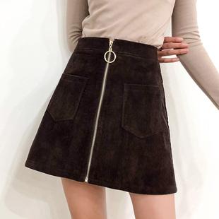 冬季灯芯绒A字裙chic短裙秋冬毛呢加绒裙子高腰半身裙包臀裙
