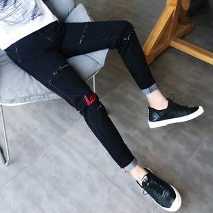 秋季黑色九分牛仔裤男士青少年破洞9分小脚裤潮男装裤子