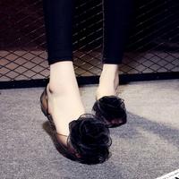 韩国新款果冻凉鞋夏女平底大花朵中空露趾透明水晶塑料平跟凉拖鞋