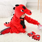 红恐龙儿童卡通动物连体睡衣套装 秋冬款如厕版男女孩宝宝家居服