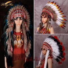 印第安头饰 彩色羽毛酋长帽 cosplay摄影走秀舞台表演万圣节道具