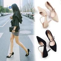 2016春季新款韩版优雅性感尖头高跟鞋细跟一字带女鞋小码凉鞋3132