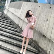 2018气质复古桔梗裙秋冬打底毛衣裙粉色蕾丝针织法式连衣裙女