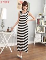 包邮2015新款夏装女波西米亚长裙修身黑白条纹长款连衣裙背心裙