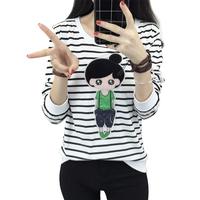 【天天特价】韩版秋装卡通黑白条纹t恤女长袖打底衫宽松学生上衣