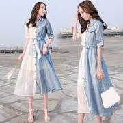 2018女装夏中长衬衫连衣裙女气质条纹拼接两件套衬衣裙子
