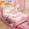 实木女孩床粉色公主床 1.5米单人床卧室套房家具 欧式儿童储物床