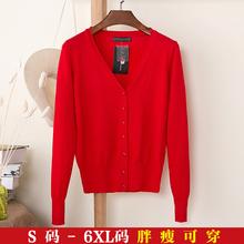 春秋季针织衫开衫长袖V领短款大码宽松毛衣防寒外搭大红色外套女
