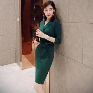 秋季连衣裙女长袖2018显瘦大码气质职业秋装中长款裙子