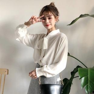 秋冬女装甜美蝴蝶结系带雪纺衬衫学生宽松纯色灯笼袖衬衣上衣