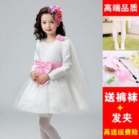 女童秋冬装钢琴主持演出礼服连衣裙女孩长袖白纱裙花童蓬蓬礼服裙