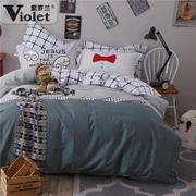 紫罗兰全棉磨毛四件套 纯棉加厚冬季1.8米1.5m床被套混搭风上用品