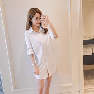 春秋欧美BF风宽松性感睡衣中长款百搭白衬衫长袖大码打底衫女