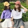 学生短袖T恤女闺蜜姐妹装2019夏季宽松紫色ins上衣学院风