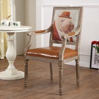 简约时尚方靠背咖啡椅 美式乡村全橡木餐椅 现代欧式实木休闲椅子
