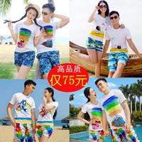 2016沙滩情侣装夏装蜜月度假婚纱服夏季男女大码短袖t恤套装海边