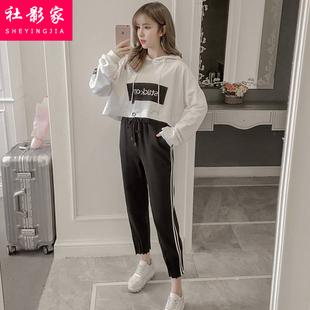 少女初中高中学生运动服套装2019春秋季宽松bf卫衣两件套