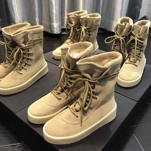 欧美秋冬中短筒靴女军靴椰子靴街头系带马丁靴真皮平底潮女靴