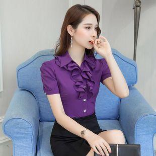 雪纺衬衣女2018夏季荷叶花边短袖衬衫白色韩范工作服潮