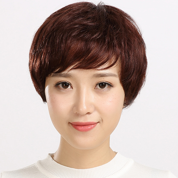假发女短发刘海片真发补发块遮盖白发图片