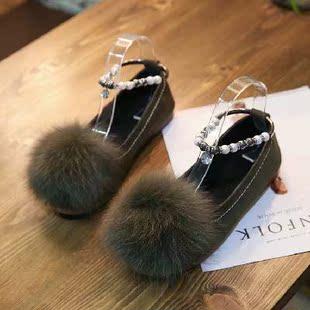 秋季串珠圆头单鞋浅口水钻黑色伴娘鞋平底低跟卡其工作女鞋欧美