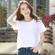 白色t恤女短袖2019夏装百搭宽松纯棉半袖打底衫上衣潮