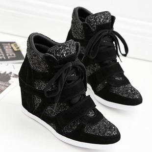 欧洲站隐形内增高女鞋拼色运动鞋真皮魔术贴鞋坡跟高帮鞋欧货