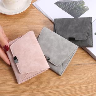 2018女式短款钱包磨砂皮钱包女士零钱包薄款迷你小钱包
