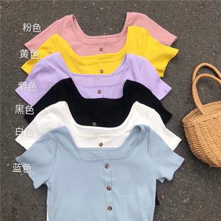 2018夏季女装复古港味百搭单排扣纯色短袖T恤衫女上衣潮