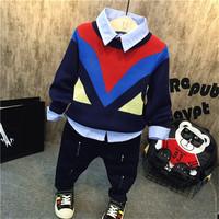 韩版儿童长袖 潮 秋季童装男童百搭针织毛衣 衬衫 秋冬套装